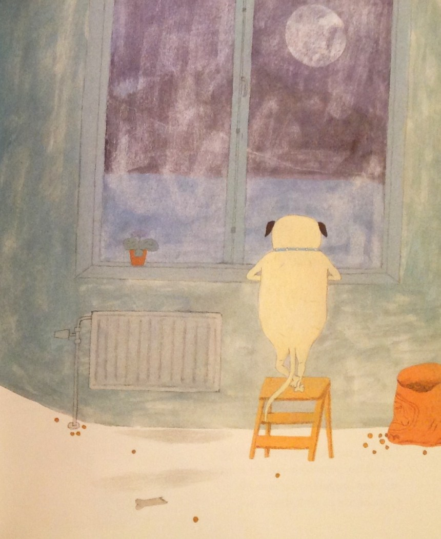 Kulan was starring the moon * Kulan is the character from Lunds Hund - the picture book written by Eva Lindström