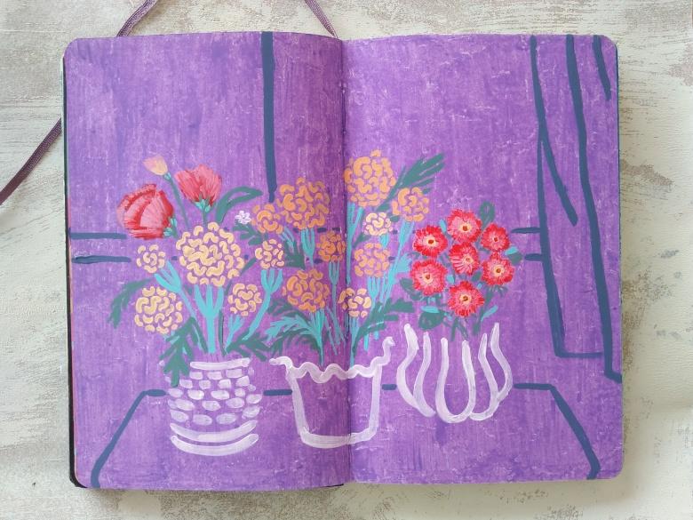 fake flowers_grandma_yodchattinyline_moleskine_aday